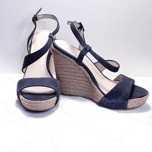 Audrey Brooke  Blue Suede Wedge Sandals Sz 6